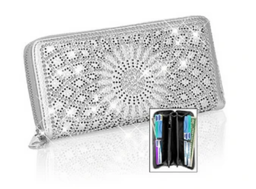 Rhinestone Pattern Accordion Wallet Silver