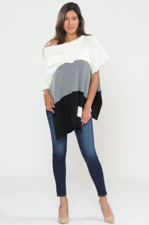 Soft Striped Poncho Black