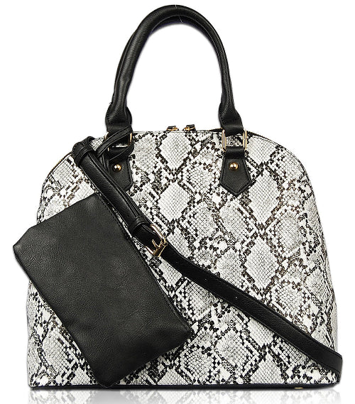 Python Handbag with Pouch Black