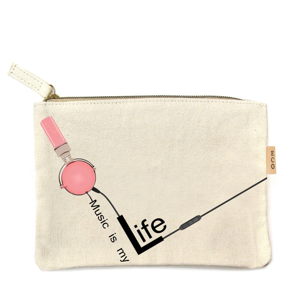 "Canvas zipper pouch ""Music is My Life"""