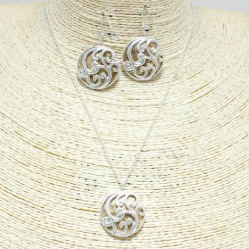 Round Filigree Necklace Set Worn Silver/Gold