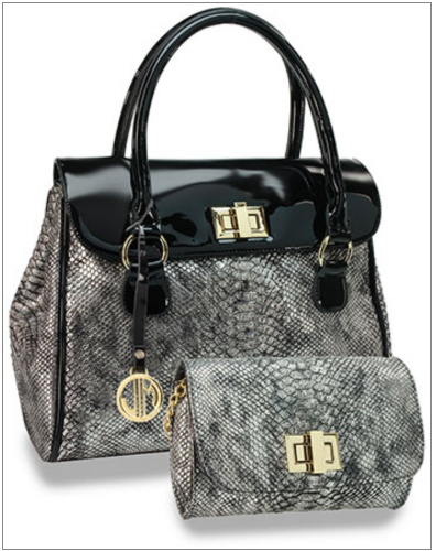 Snakeskin Embossed Handbag Set Black