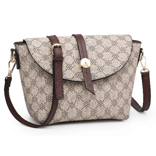 Flower Monogram Flap Crossbody Taupe/Coffee