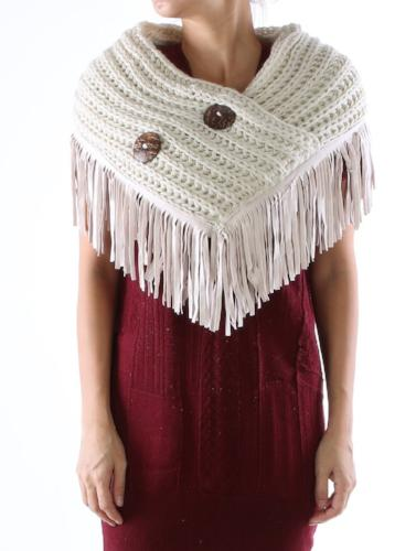 Button Embellished Cable Knit Wrap/Scarf Beige