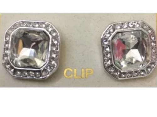 Silver Square Crystal Clip Earring