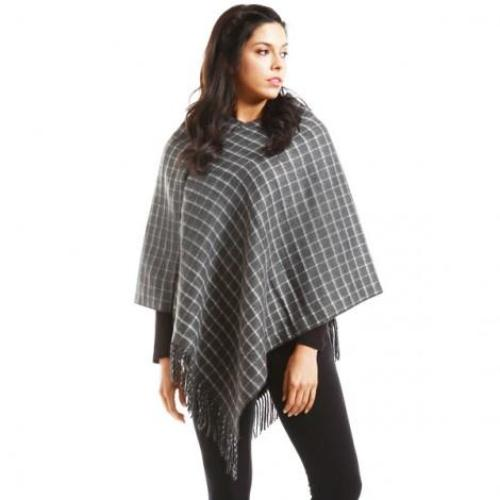 Checkered Poncho with Fringe Gray