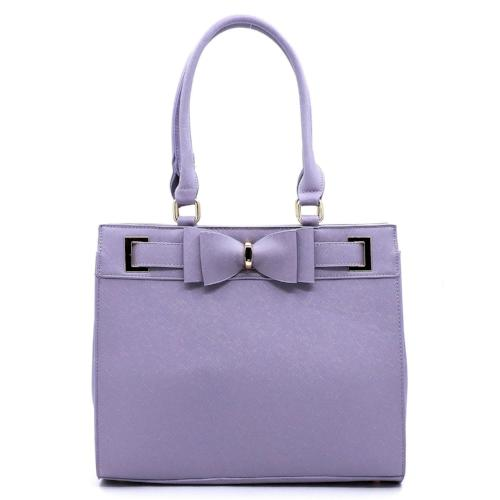 Saffiano Bow Boxy Satchel Purple