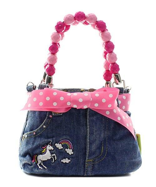 Little Girl's Unicorn Denim Bootie Bag with Bow