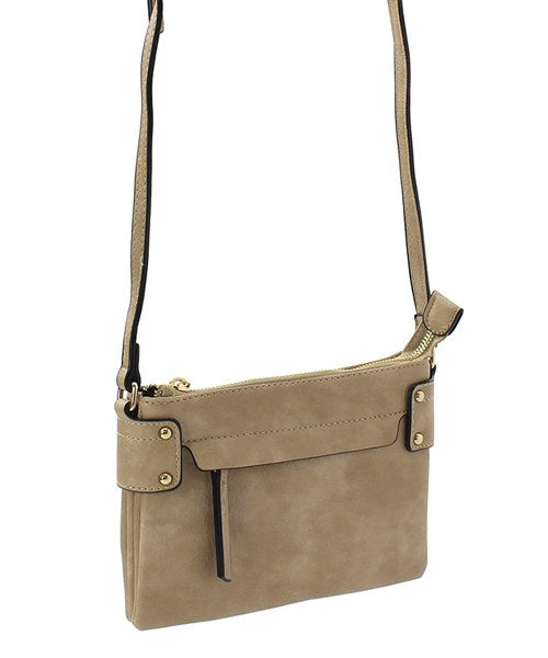 Front Single Zip Crossbody Nude