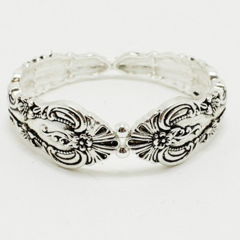 Stretchable Antique Silver Spoon Bracelet