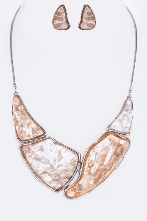 Resin Collar Statement Necklace Set Silver/Brown
