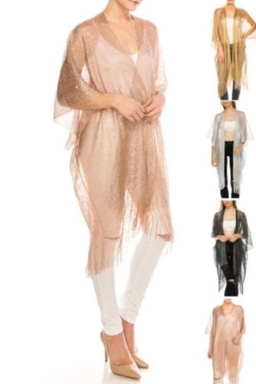 Lurex Fringe Cardigan Assorted Colors