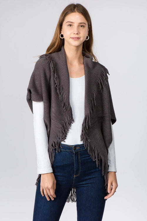 Fringed Knit Bolero Jacket