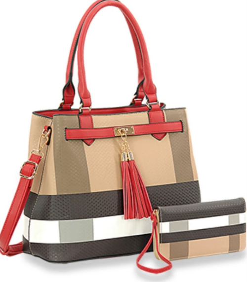 Plaid Belted Handbag Set Red