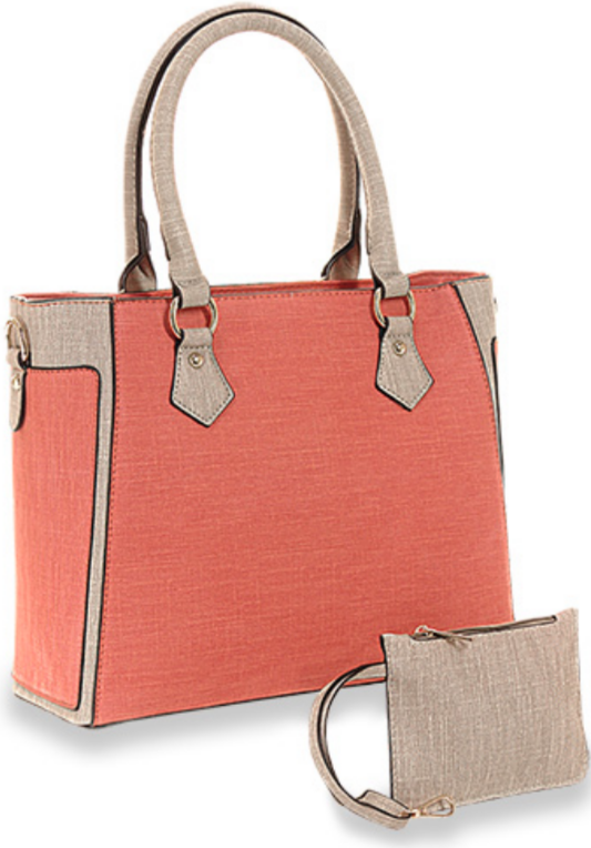 Textured Two Tone Tote Setd oral