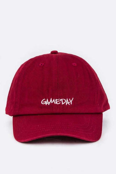 Game Day Embroidered Washed Cotton Cap Burgundy