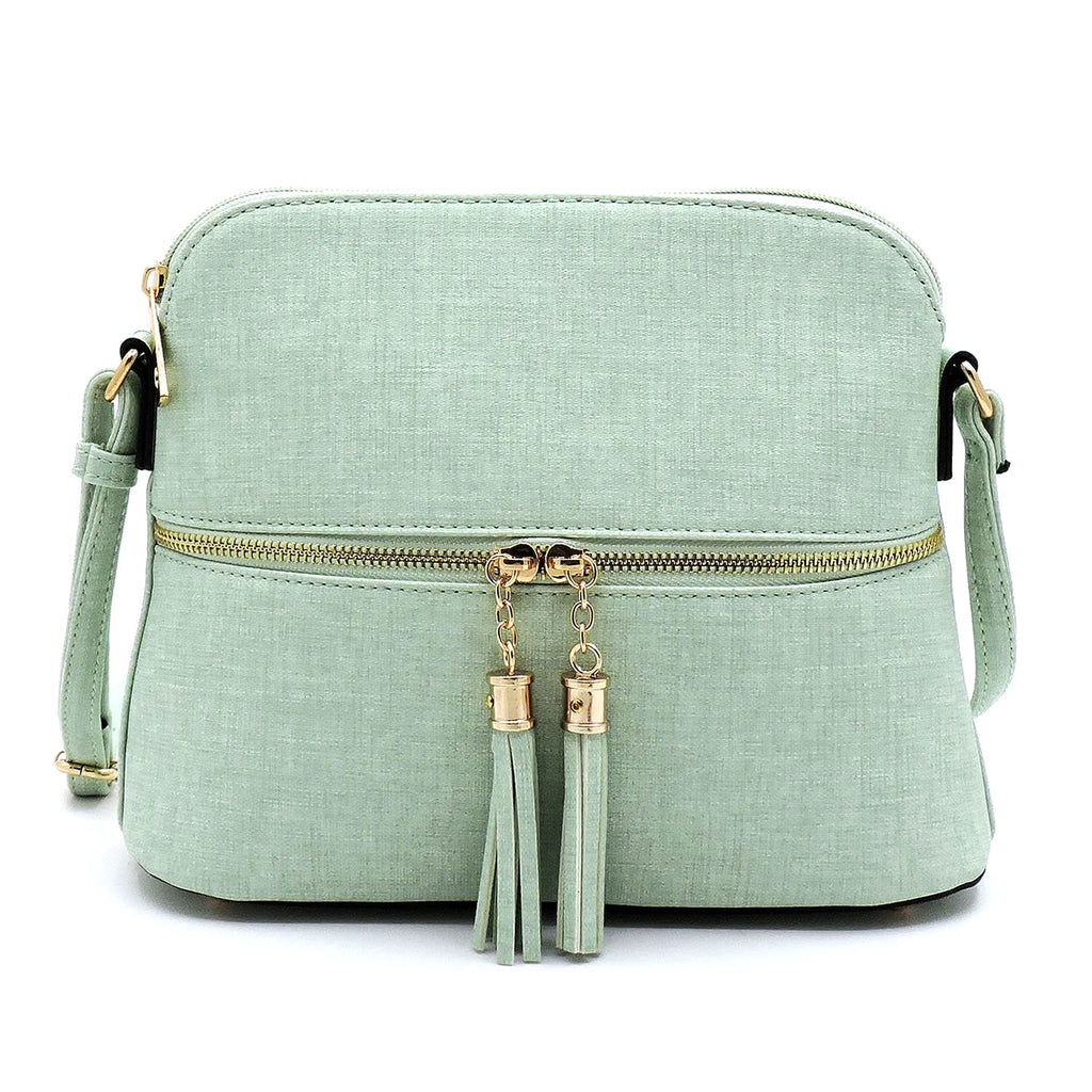Textured Tassel Zip Dome Crossbody Mint
