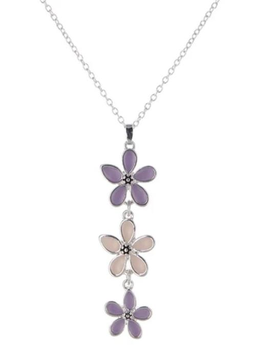Seaglass Flower Pendent Necklace Lavender Tone