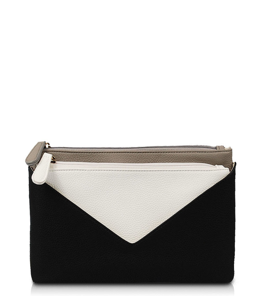 Tri-colored zip clutch