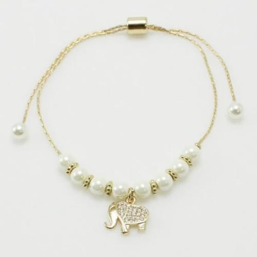 Elephant w/Pearl Adjustable Bracelet Gold
