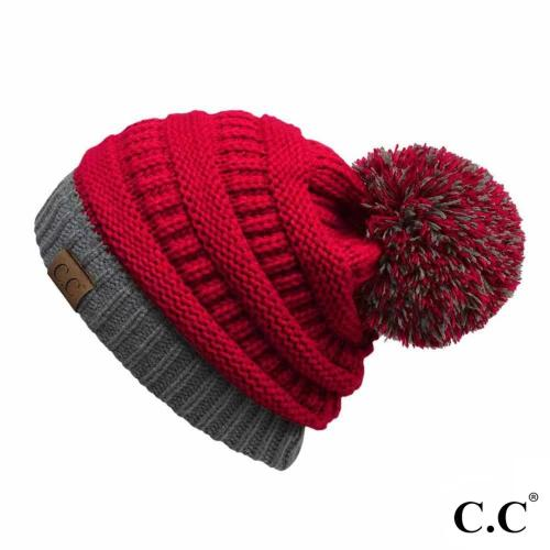 Two-Tone Solid Color Pom Beanie