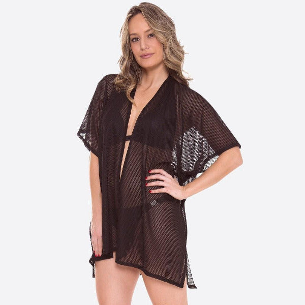 Women's Honeycomb Mesh Kimono or Swimsuit Cover Up Black