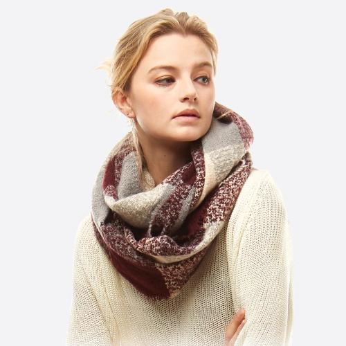 Soft Touch Plaid Boucle Infinity Scarf