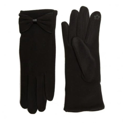 Bow Accent Soft Touch Screen Gloves Black