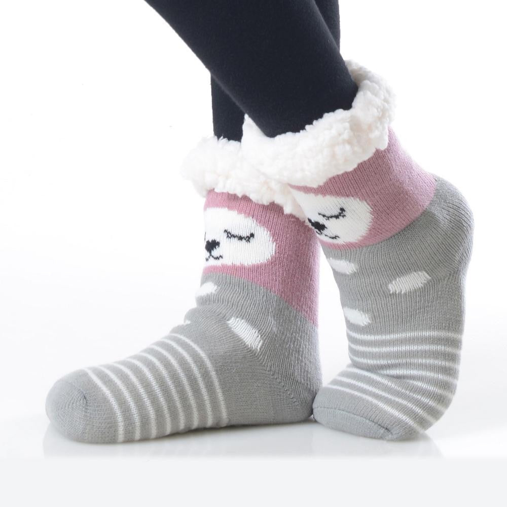Kids Faux Sherpa Linked Slipper Socks