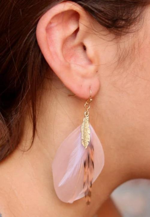 Real Feather Drop Earrings