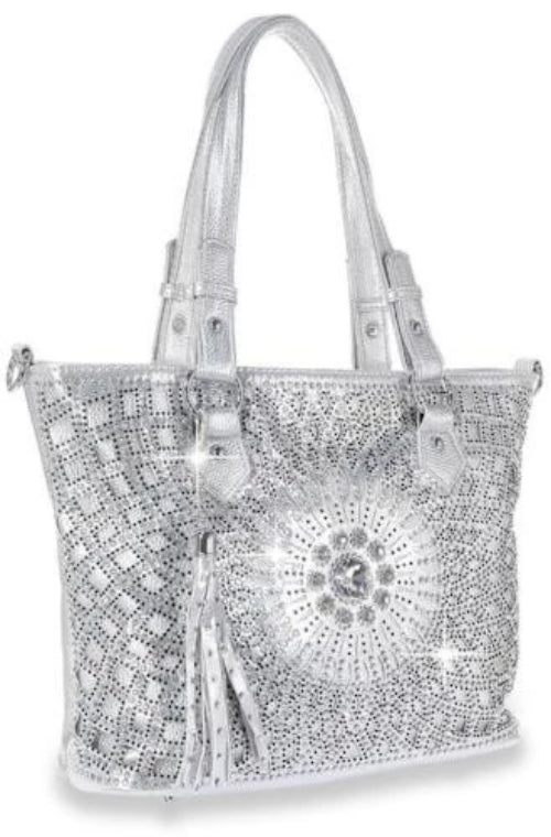 Bling Design Layered Shopper Silver