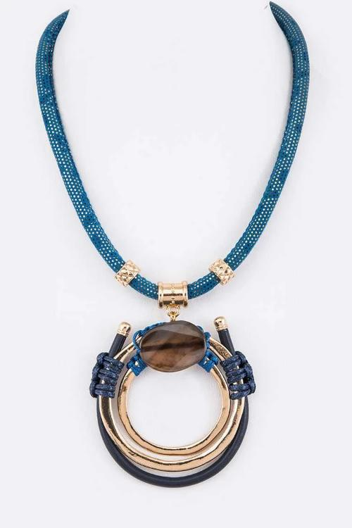 Mix Media Stone Pendant Necklace Blue