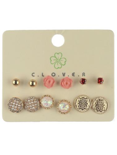Pearl, Rose, Crystal Stud Set Gold/Coral
