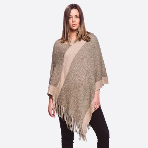 Two Tone Knit poncho with Fringe Beige/Taupe