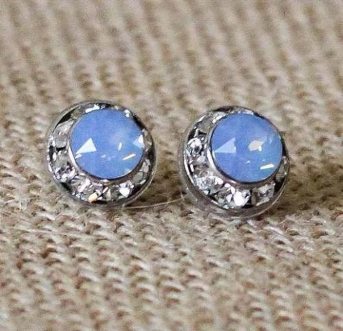 Rondelle Post Earrings Light Blue Opal