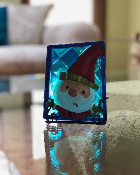 """Stained Glass"" Santa Candle Holder"