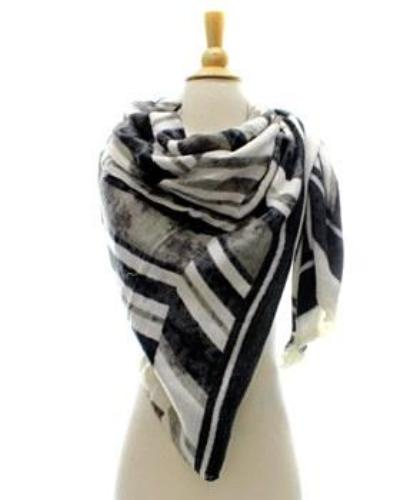 Striped Shawl/Scarf Black/Multi
