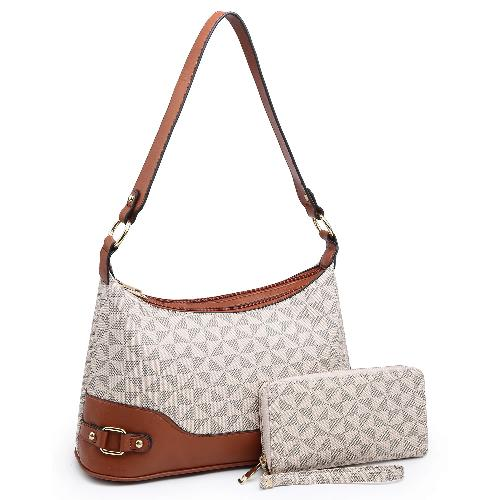 Link Accent Diamond-Print 2-in-1 Shoulder Bag Taupe Coffee