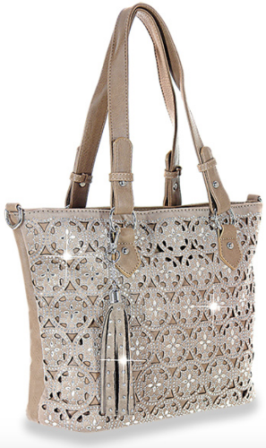 Layered Pattern Shopper/Tote Taupe