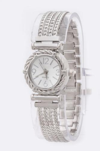 Chain Strap Texture Bezel Fashion Watch Silver