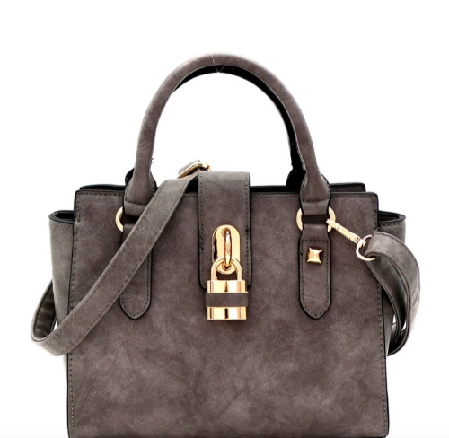 Padlock-Accent 2-Way Wing Satchel Grey