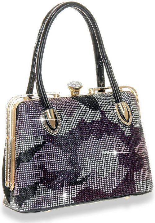 Patterned Rhinestone Accented Tote Black