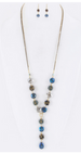 Crystal & Bead Flower Necklace Set Blue