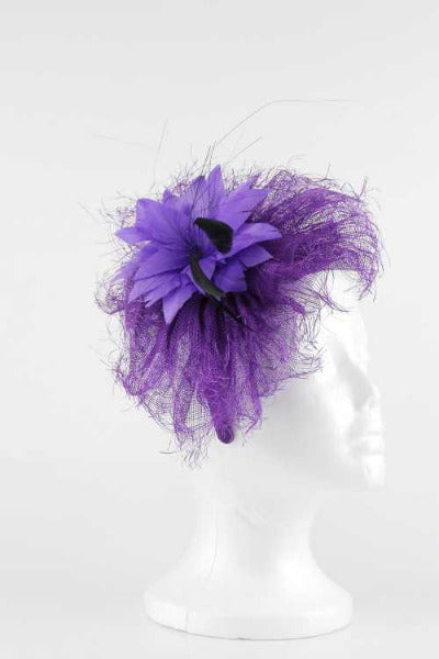 Feather Flower Fascinator Purple