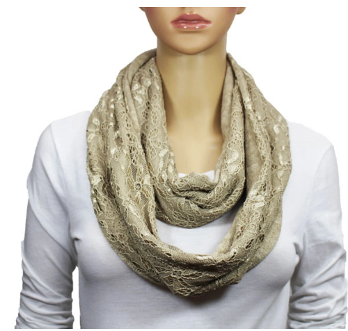 Floral Infinity Lace Scarf Beige