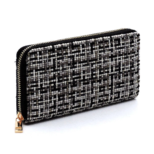 Fashion Woven Check Wallet Black