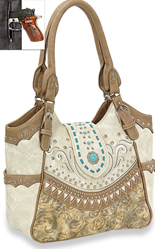 Western Concho Shoulder Bag Beige