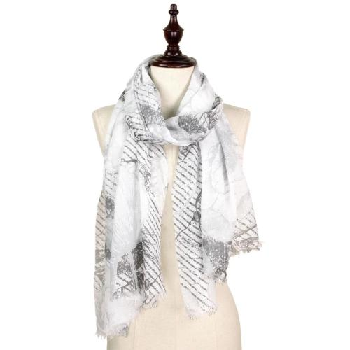 Flower Print Sequins Decor Scarf