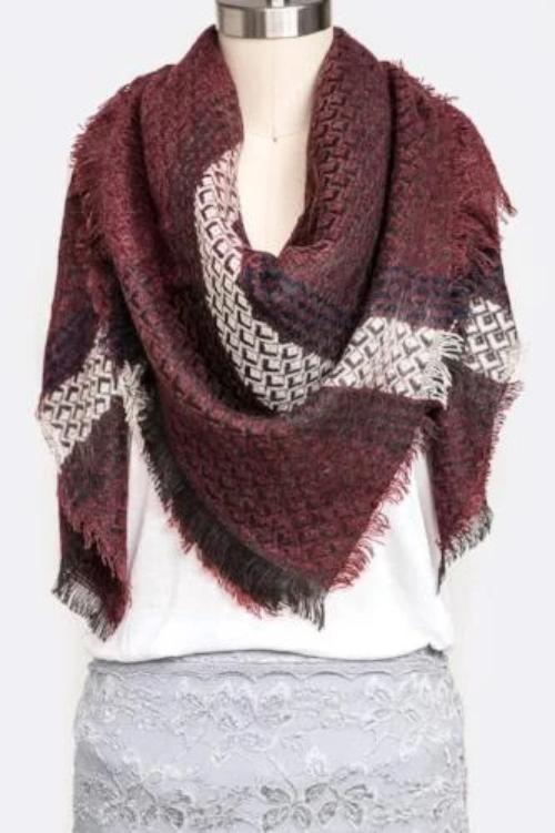 Mad for Plaid Blanket Scarf Burgundy