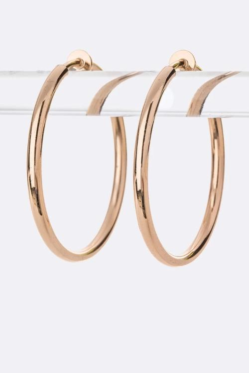 Clip On Iconic Hoop Earrings Gold